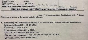 Colorado Springs Civil Harassment Restraining Order